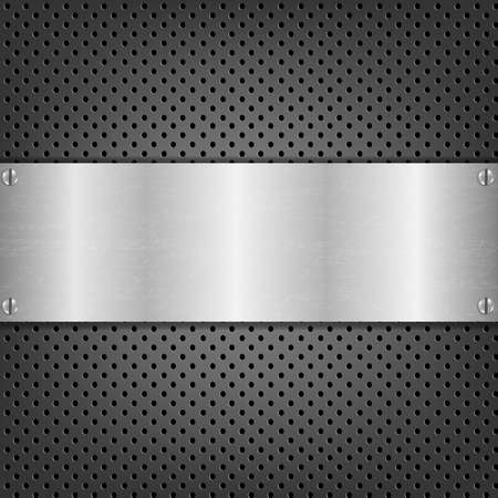 Background With Metal Plate With Gradient Mesh, Vector Illustration