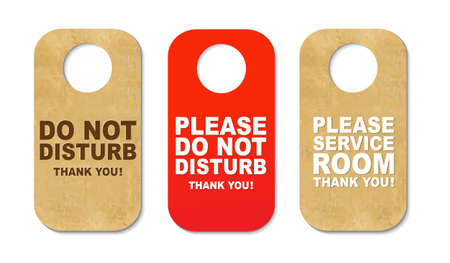 quiet room: 3 Do Not Disturb Sign With Gradient Mesh, Isolated On White Background, Vector Illustration