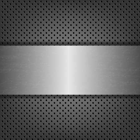 lamiera metallica: Metal Background con targhetta metallica con gradiente maglie, illustrazione vettoriale