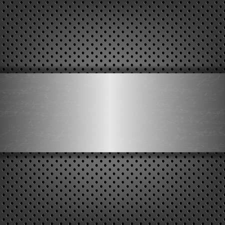 grille: Metal Background With Metal Plate With Gradient Mesh, Vector Illustration Illustration