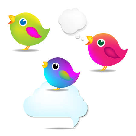 Color Birds Set With Speech Bubble, Isolated On White Background, Vector Illustration Stock Vector - 18086103