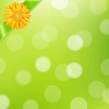 daisyflower: Green Nature Background With Yellow Gerbers And Green Ribbon With Gradient Mesh, Vector Illustration Illustration
