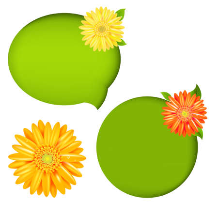 margerite: 2 Nature Speech Bubbles And Orange Gerber With Gradient Mesh, Vector Illustration