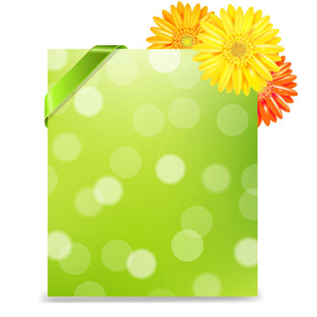 orange gerbera: Yellow Gerber And Blank Gift Tag With Gradient Mesh, Isolated On White Background, Vector Illustration Illustration