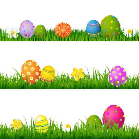 pascuas navide�as: Big Green Grass conjunto con flores y huevos de Pascua con degradado de malla, Aislado En Ilustraci�n Vector Fondo blanco,