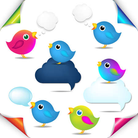 Color Birds Set With Corners And Speech Bubble With Gradient Mesh, Isolated On White Background, Vector Illustration Stock Vector - 18425681