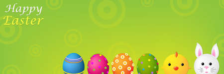 Happy Easter Banner With Gradient Mesh, Vector Illustration Vector