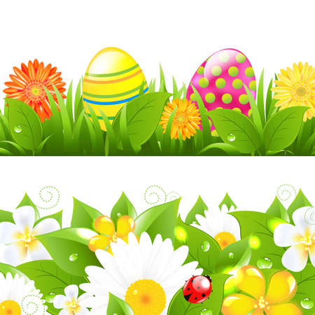 2 Borders With Grass And Color Eggs With Gradient Mesh, Isolated On White Background, Vector Illustration Vector