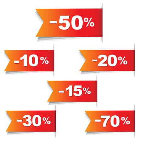 buono sconto: Colore Discount Labels, isolato su sfondo bianco, illustrazione