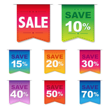 Discount Labels, Isolated On White Background, Illustration  イラスト・ベクター素材