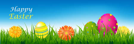 Happy Easter Banner With Grass And Eggs With Gradient Mesh, Illustration