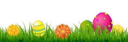 Happy Easter Border With Grass And Eggs With Gradient Mesh, Illustration