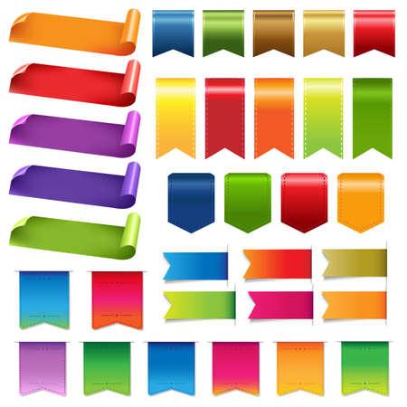 흰색 배경에 큰 다채로운 리본과 격리 된 디자인 요소, 벡터 일러스트 레이 션