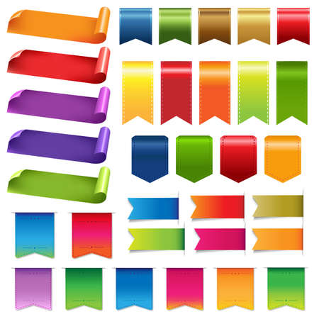 corner flag: Big Colorful Ribbons And Design Elements, Isolated On White Background, Vector Illustration