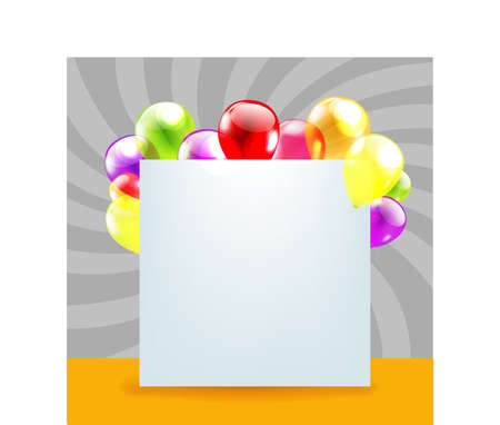 Happy Birthday Day Card With Color Balloons With Gradient Mesh, Vector Illustration Illustration