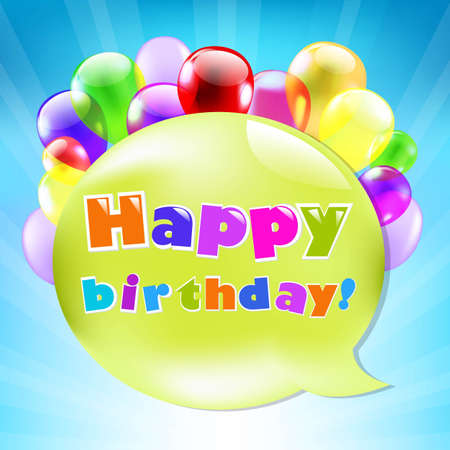 Birthday Day Card With Colorful Balloons With Gradient Mesh, Vector Illustration Vector