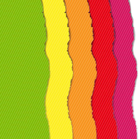 Color Torn Paper Borders Set, Vector Illustration Vector