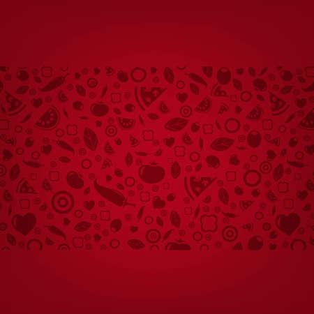 piatto cibo: Sfondo rosso scuro con Icone di cibo con gradiente maglie, illustrazione vettoriale