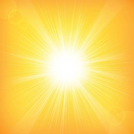 rayos de sol: Sol de fondo con malla de degradado, ilustración vectorial Vectores
