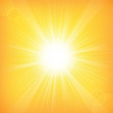 Sun Background With Gradient Mesh, Vector Illustration