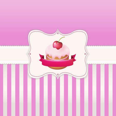 tarte aux cerises: Affiche vintage avec �tiquette Avec Gradient Mesh, illustration vectorielle