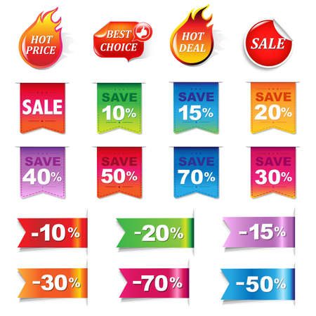 Big Sale Colorful Labels Set, Vector Illustration