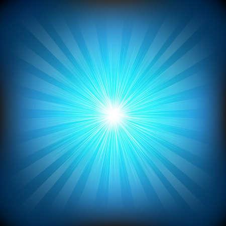 Blue Burst With Gradient Mesh, Vector Illustration