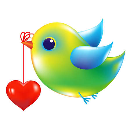 Bird With Heart With Gradient Mesh, Vector Illustration