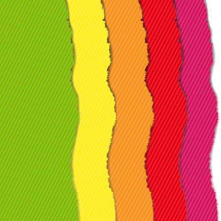 shredded: Color Torn Paper Borders Set, Vector Illustration Illustration