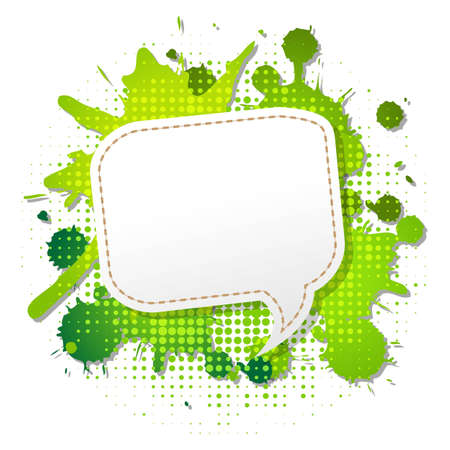 Green Grunge Poster With Abstract Speech Bubbles, Vector Illustration