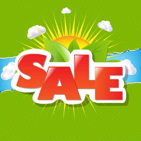Verde delimita carta strappato e vendita poster con gradiente maglie, illustrazione vettoriale