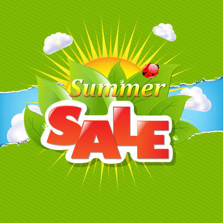 green coupon: Green Torn Paper Borders And Summer Sale Banner With Gradient Mesh, Vector Illustration