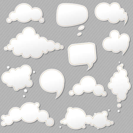 Speech Bubbles Set With Grey Background, Vector Illustration