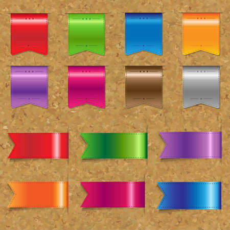 memorize: Web Color Ribbons Big Set With Cork Background With Gradient Mesh, Vector Illustration Illustration