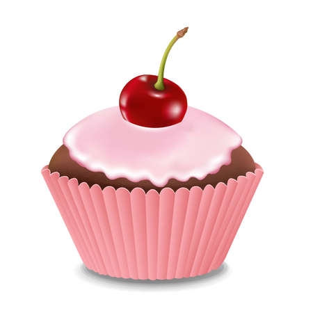 Cupcake With Cream And Cherry With Gradient Mesh, Vector Illustration