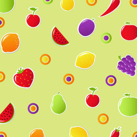 Fruits And Vegetables Background, Vector Illustration