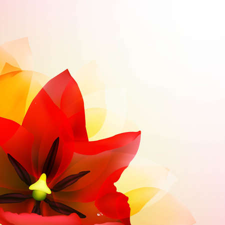 macro leaf: Borders Of Red Tulips And Pink Blur With Gradient Mesh, Vector Illustration