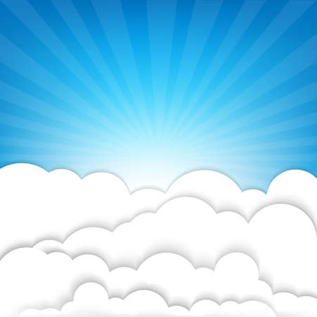 Clouds With Sky And Sunburst, With Gradient Mesh, Vector Illustration Stock Vector - 22401705