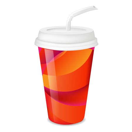 plastic straw: Colorful Paper Glass With Gradient Mesh, Vector Illustration