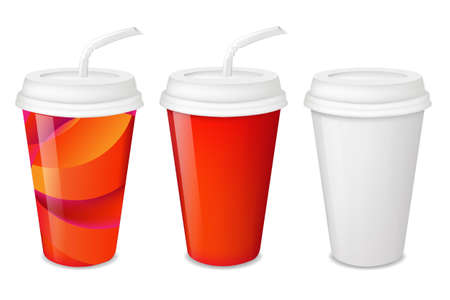take away: 3 Paper Glasses Set With Gradient Mesh, Vector Illustration Illustration