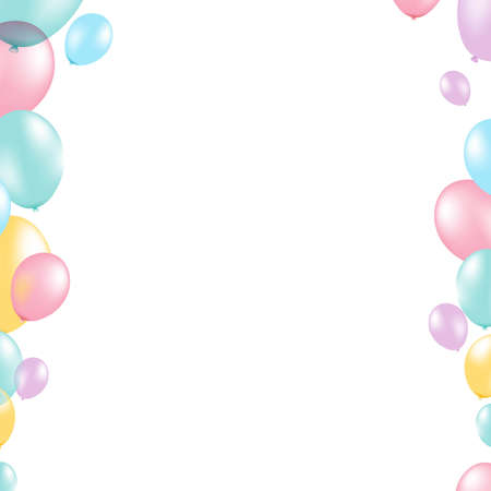 Pastel Balloon Border, With Gradient Mesh, Vector Illustration
