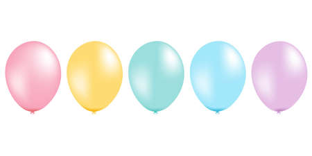 Pastel Balloon Set, With Gradient Mesh, Vector Illustration Vector