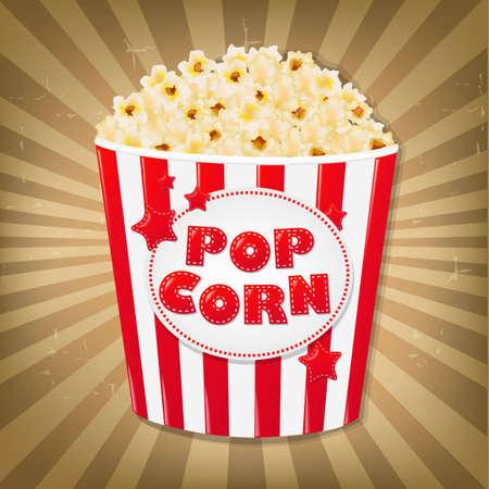 Popcorn In Cardboard Box With Sunburst With Gradient Mesh, Vector Illustration