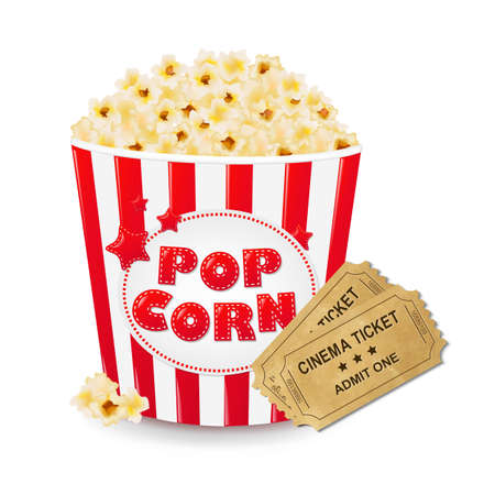 big boxes: Popcorn In Cardboard Box With Ticket Cinema With Gradient Mesh, Vector Illustration Illustration