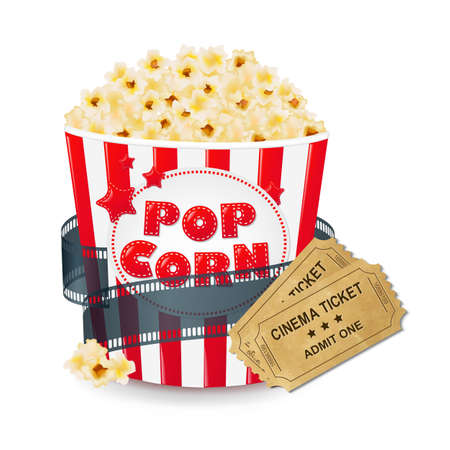 Popcorn In Cardboard Box With Ticket Cinema With Gradient Mesh, Vector Illustration Vector