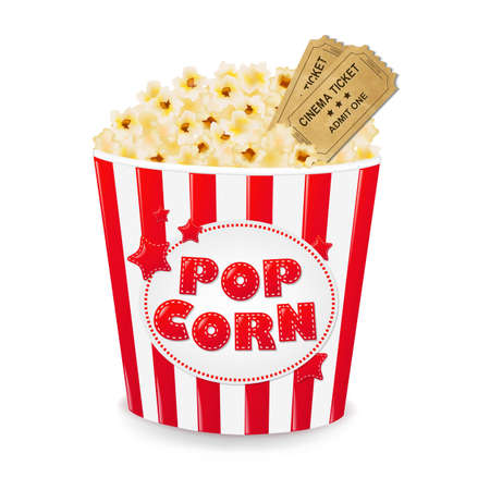 Popcorn In Cardboard Box With Tickets Cinema With Gradient Mesh, Vector Illustration Vectores
