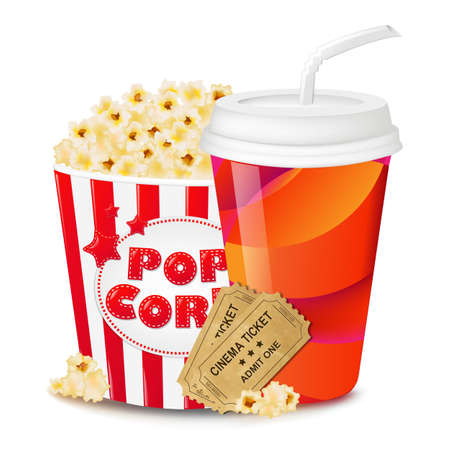Popcorn In Cardboard Box With Tickets Cinema And Paper Glass With Gradient Mesh, Vector Illustration Vectores