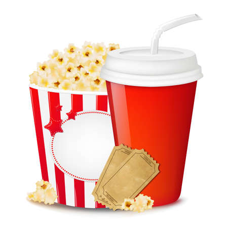 buttered: Popcorn In Cardboard Box With Tickets Cinema And Paper Glass With Gradient Mesh, Vector Illustration Illustration