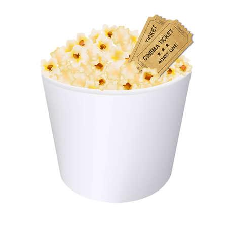 Popcorn In White Cardboard Box With Gradient Mesh, Vector Illustration Stock Vector - 22401788