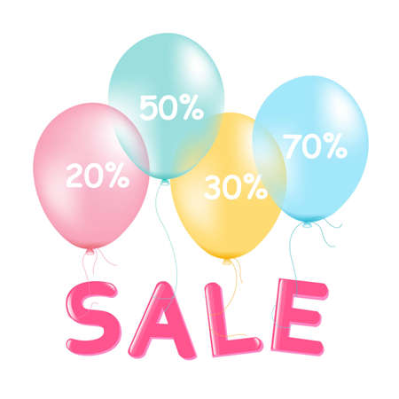 Sale Poster With Pastel Balloons, With Gradient Mesh, Vector Illustration Vector